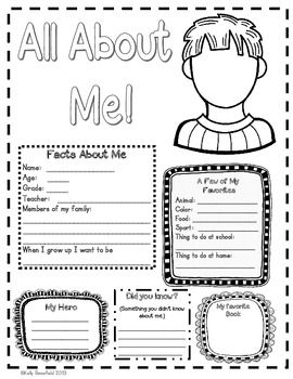 All About Me Posters:  A great way to get to know your students at the beginning of school!