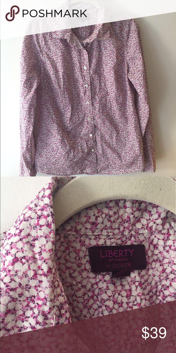 J.Crew Liberty of London Shirt tailored floral print shirt 100% cotton art print size 8 J. Crew Tops Button Down Shirts