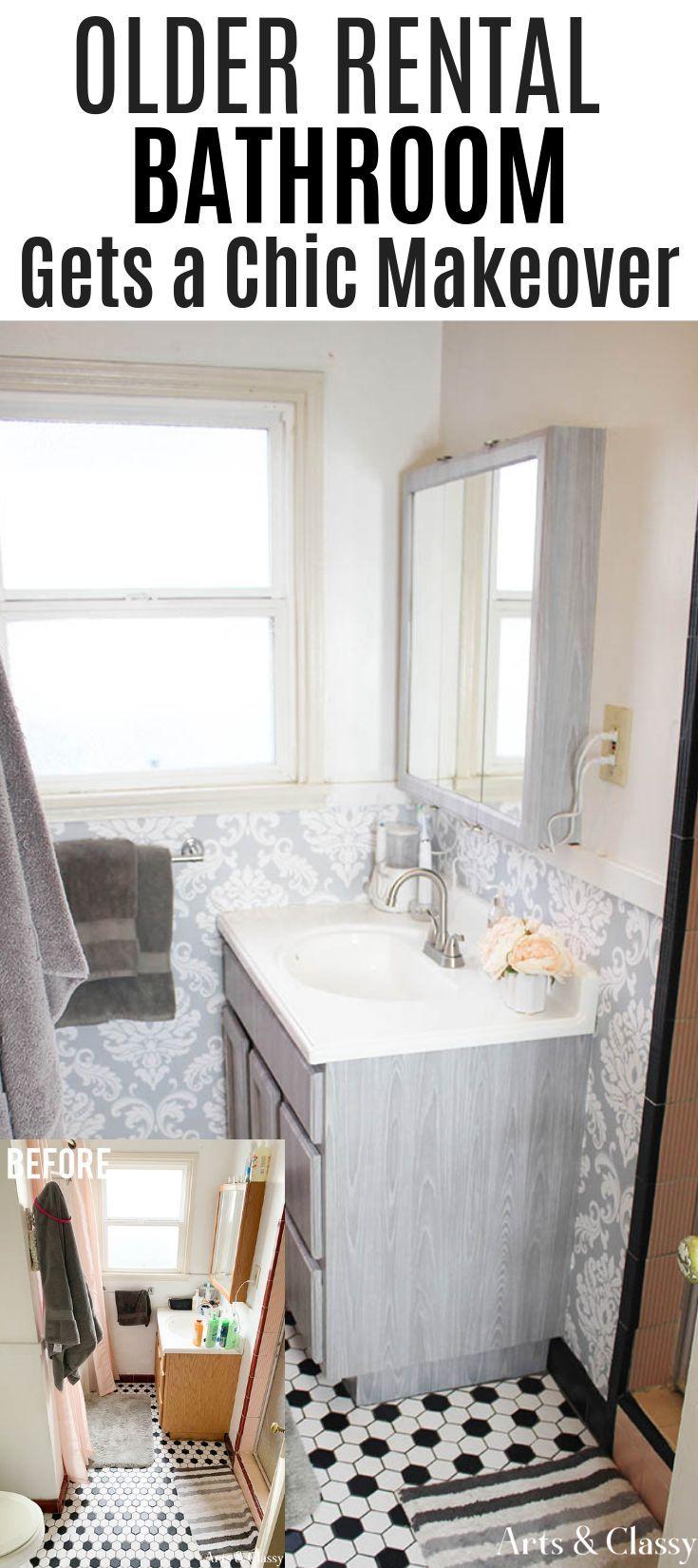 Chic Rental Bathroom Makeover Tutorial Arts And Classy Rental Bathroom Makeover Rental Bathroom Decorating Rental Bathroom