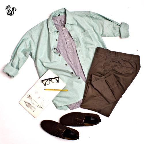 LS Oxford Mint Shirt + SS Henley Misty Grey + Nitro Suede Brown Brown Sole