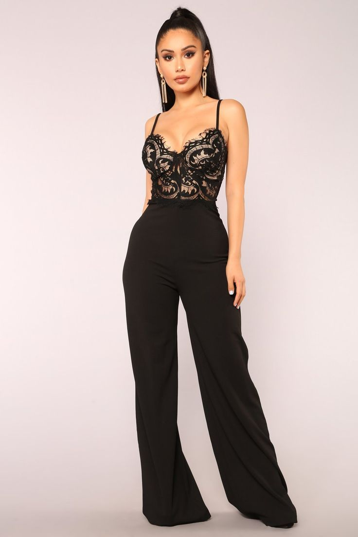 roof top date lace jumpsuit  black  tarz moda moda ve