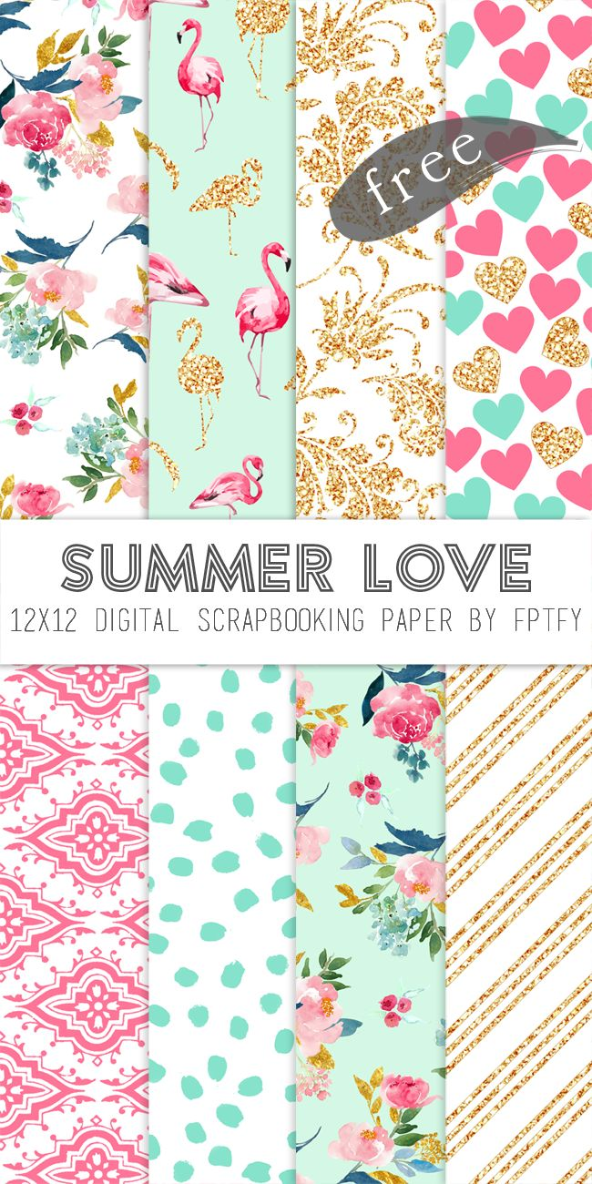Free Digital Scrapbook Paper: Happy Monday Lovelies! I have a delightful digital scrapbooking paper collection for you today!  I've never really attempted a collection like this before.. but.. I am SO glad I did because I am head over heals in love with it! The gorgeous florals, flamingos, hearts, gold glitter, aqua, pink and white …