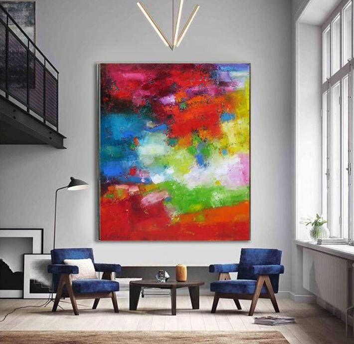 Large Colorful Abstract Wall Art Print Canvas Painting Bright Red Green Modern Wall Decor Giclee Prints In 2020 Colorful Wall Art Abstract Wall Art Bright Abstract Art