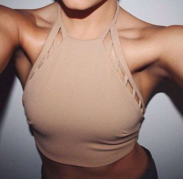 Tank top: nude beige cut-out halter neck camel crop tops high neck strappy top halter neck lace