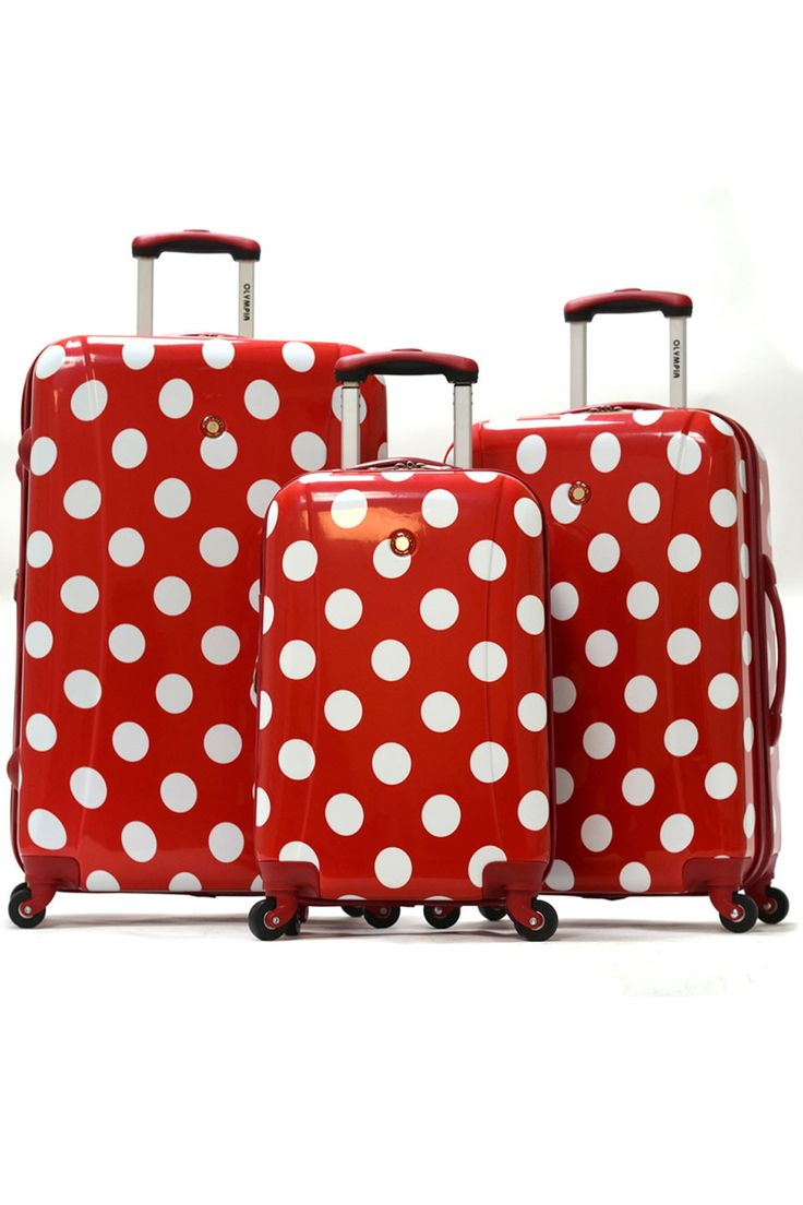 Polka Dot Hardcase Suitcases In Red.