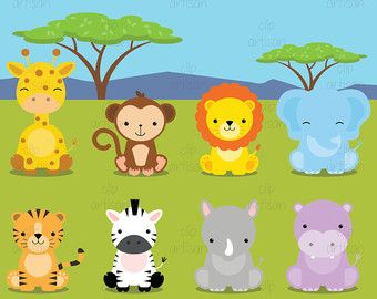 Baby Wild Animals Digital Clipart by LittleMoss on Etsy                                                                                                                                                      Mais