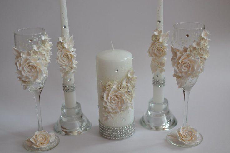 Купить Свадебный набор Классика белого - полимерная глина deco, керамическая флористика, фужеры