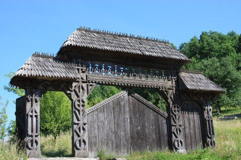 carved wooden gates in northern Transylvania.