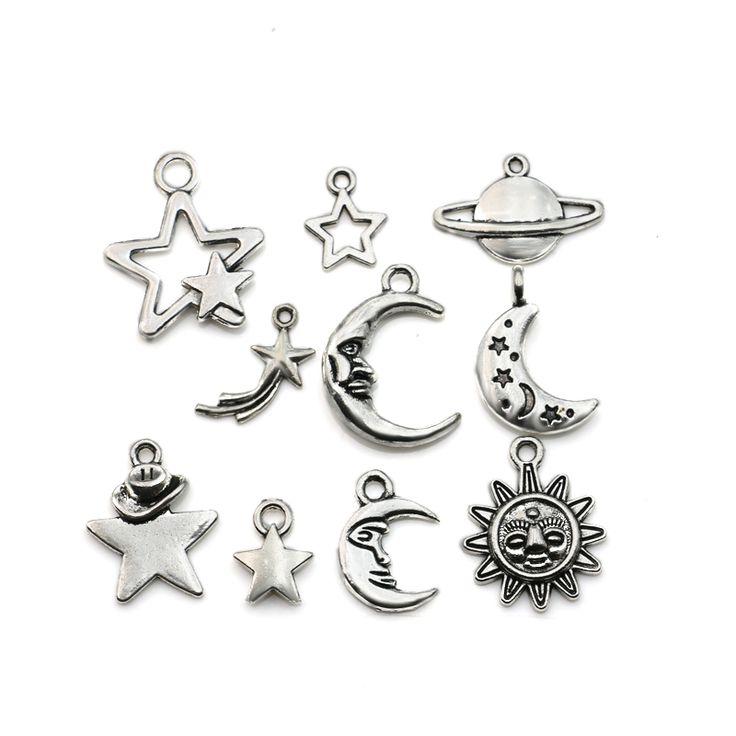 Mixed Tibetan Silver Plated Moon Star Sun Charms Pendants Jewelry Making Handmade Accessories DIY m030