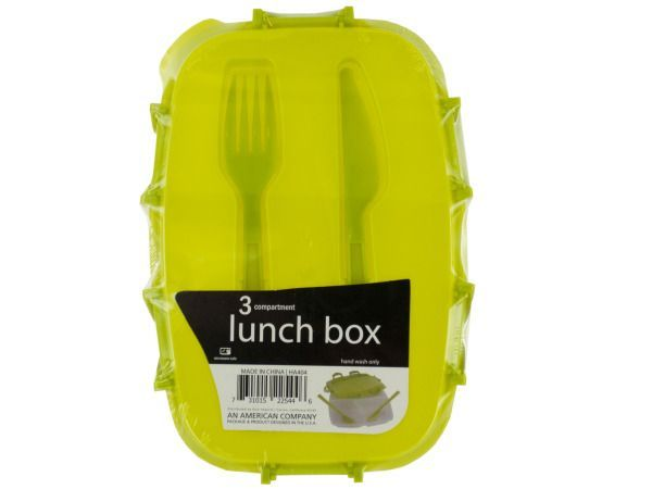 "Divided Plastic Lunch Box with Fork & Knife, 36 - Perfect for taking food on the go, this Divided Plastic Lunch Box features a durable transparent plastic box with large and small sections and a snap-on lime green lid with a matching fork and knife that snap inside of it. Measures approximately 9.25"" x 2.5"" x 6.5"". Microwave safe. Comes shrink wrapped.-Colors: transparent,green. Material: plastic. Weight: 0.9722/unit"