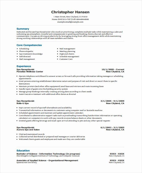 23 Entry Level Medical Receptionist Resume Examples In 2020