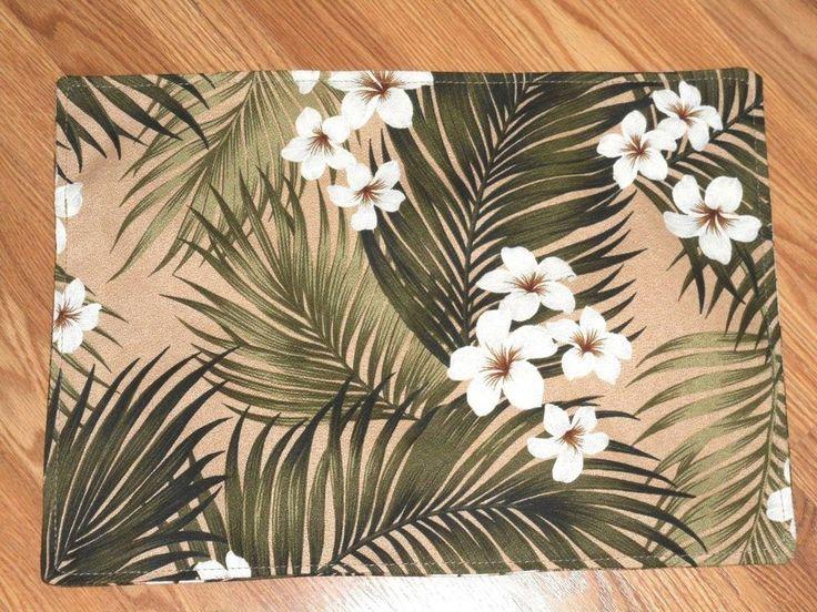 PAIR! Hawaiian Tropical 100% Cotton Barkcloth Fabric PLACEMATS ~Plumeria-Cream~  #Handmade