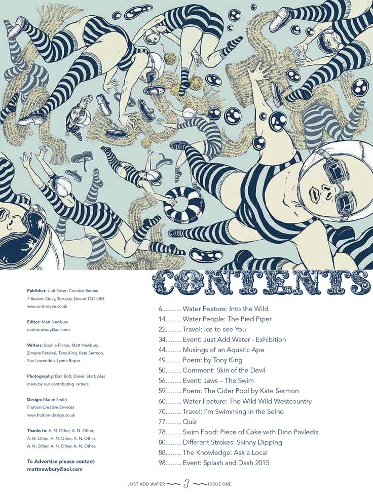 Wild Swimming Magazine, Contents Layout, Page Design, Editorial & Publishing Design,