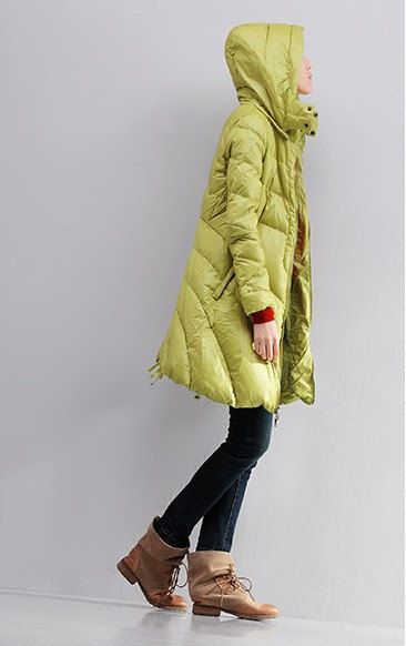 A-line Hooded Down Coat Side Pockets Down Jacket Women Down Coat Thick Warm Goose Down Coat Custom Made Plus size