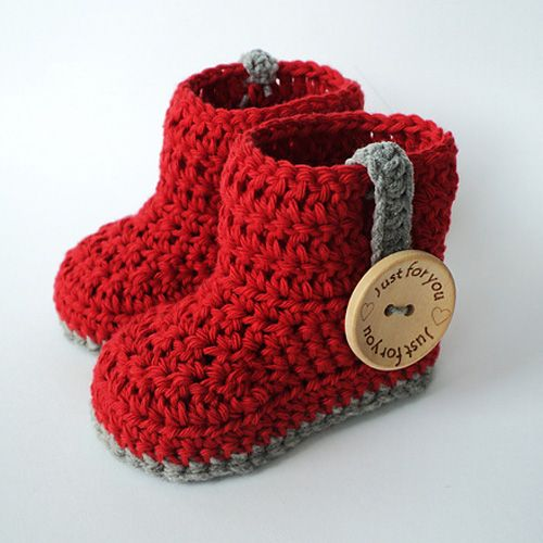 Crochet For Children: Hut's Amore - Crochet baby booties (Free Pattern)