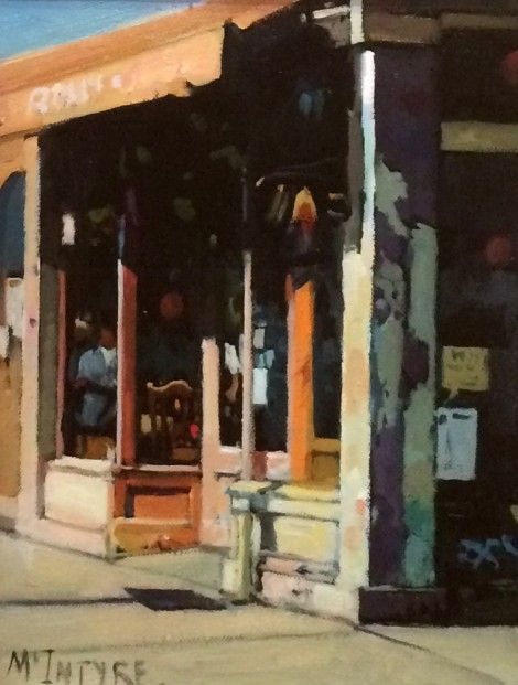 Joe McIntyre_Study for Balluchies, Cafe, Greenwich Village, New York_Oils_12x9 l Scottish Contemporary Art