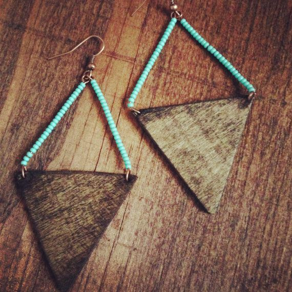 Wooden triangle and blue bead earrings