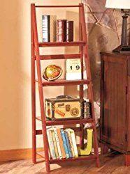 Cnlinkco Stylish Room Walnut Wooden Leaning Ladder Shelf Bookcase