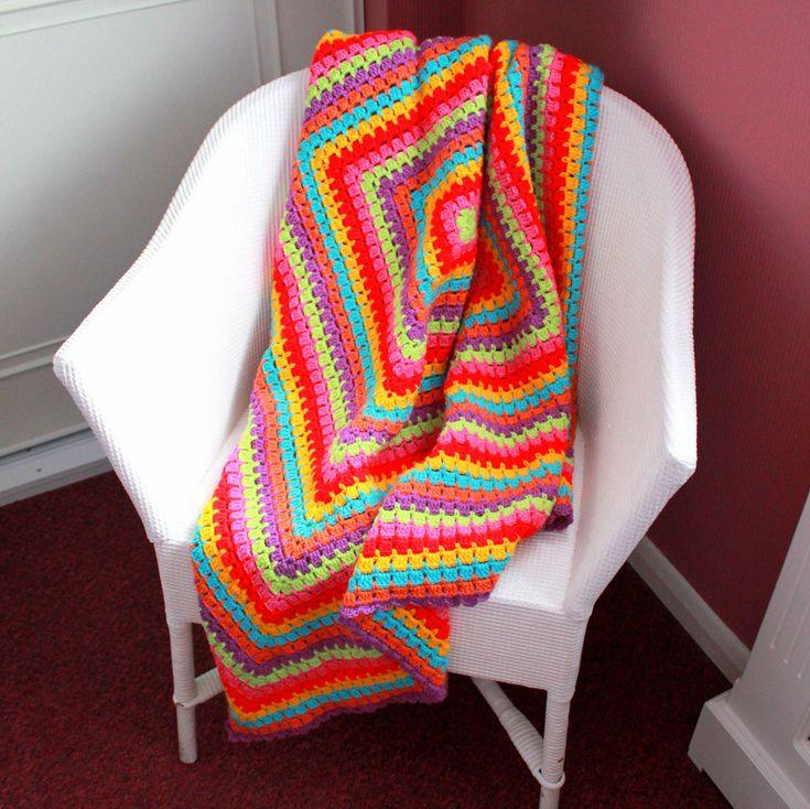 Rainbow Burst Crochet Blanket - Crochet Afghan - Lap Blanket - Small Medium Blanket - Car Blanket - Lapghan - 56 x 56 - EssHaych by EssHaych on Etsy - £35.00