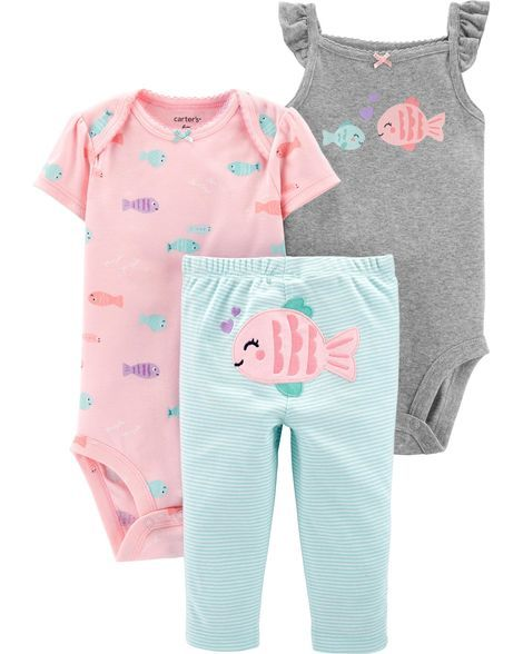 e6752c1dee69 Baby Girl 3-Piece Fish Little Character Set from Carters.com. Shop clothing  & accessories from a trusted name in kids, toddlers, and baby clothes.