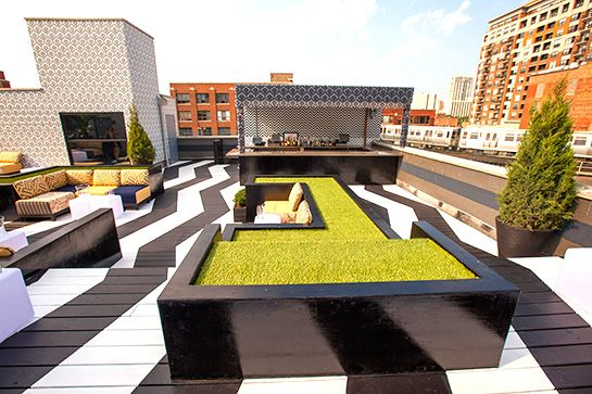 Chicago - The Kensington Roof Garden & rooftop lounge I love the chevron painted decking, and the graphic patterns mixed - including the building and bar