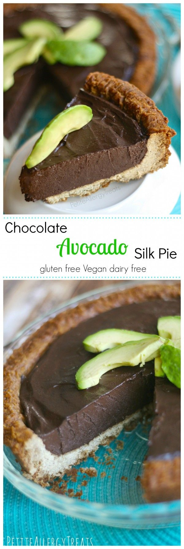 Chocolate Silk Pie with Avocado (gluten free Vegan dairy free) Decadent chocolate and avocado blended to a silky pie, no added fat or sugar. avocado, dairy free