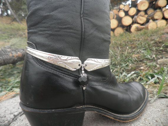 Boot Jewelry Cuff Handcrafted From Vintage Art Deco Silverware - everything needs a little bling