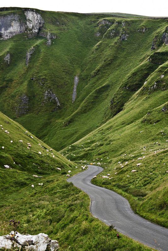 Winnat's Pass, near the village of Castleton in the Peak District of England