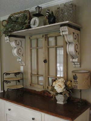 Vintage dining room buffet table and shelf display