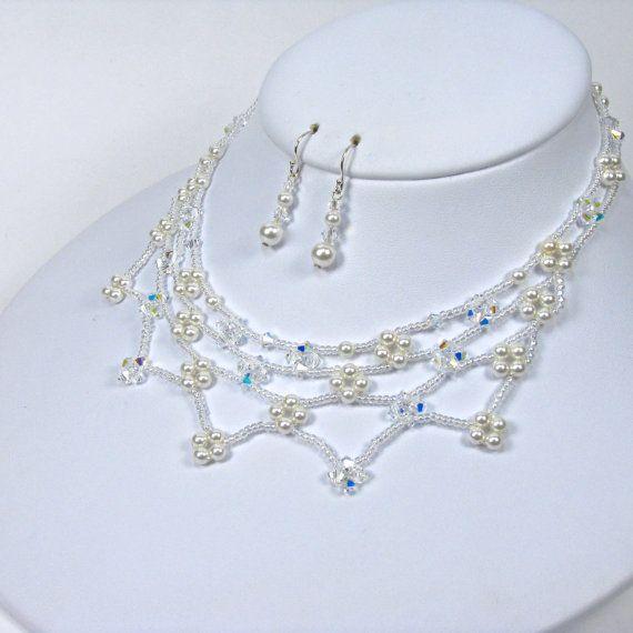 Floral Bridal Jewelry Set Beaded Necklace by TwoBeWedJewelry