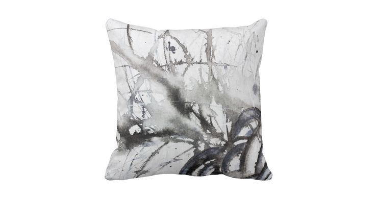 Black and White Abstract Original Gray Painting Throw Pillow by Heather Miller, WhiteRosesArt