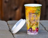 Porcelain Travel Mug - Ready to Ship Hand Painted Ceramic Eco Cup with Lid. $30.00, via Etsy.