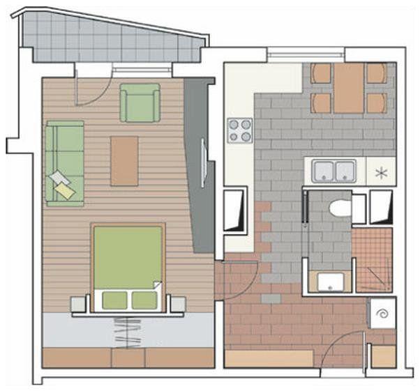 интерьер однокомнатной квартиры п-44 #3