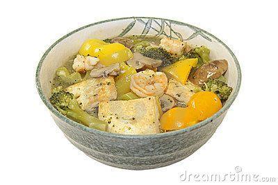 Shrimp,Tofu,Broccoli,Mushroom and Bell Pepper Stew