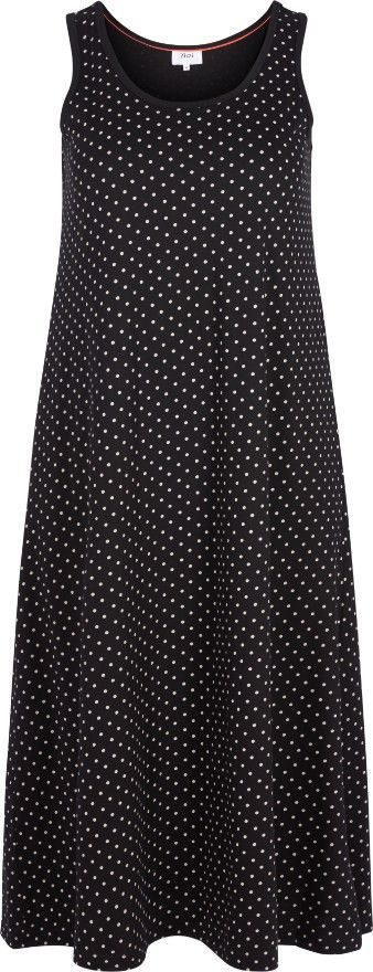 Denne fine gulvlange kjole fra Zizzi er det perfekte bud på en sommerkjole. Kjolen er uden ærmer og lavet i i 100 % bomuld, hvilket gør den åndbar og behagelig.  Style denne fine kjole med et par flade sandaler og en cowboyjakke over.