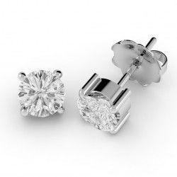 Cercei Tip Stud Aur Alb 18kt cu Diamant Rotund Briliant Setat cu 4 Gheare - RDE001W
