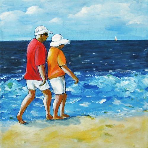 Acrybild 'Menschen am Strand No. 1' – Angelika Rump