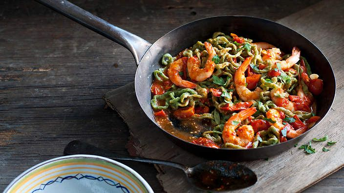 Scialatielli is a type of long, square-sided #spaghetti from the Amalfi coast. Here we've paired it with basil, pecorino and the season's best seafood. Listen to the audio recipe.