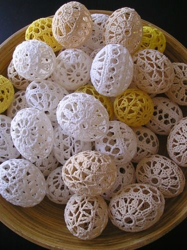 Decorative crocheted Easter eggs
