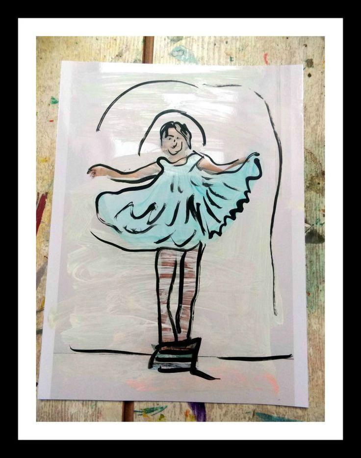 Portrait Acryl Foto Kinder  Pop Art direkt vom Künstler Blaues Kleid