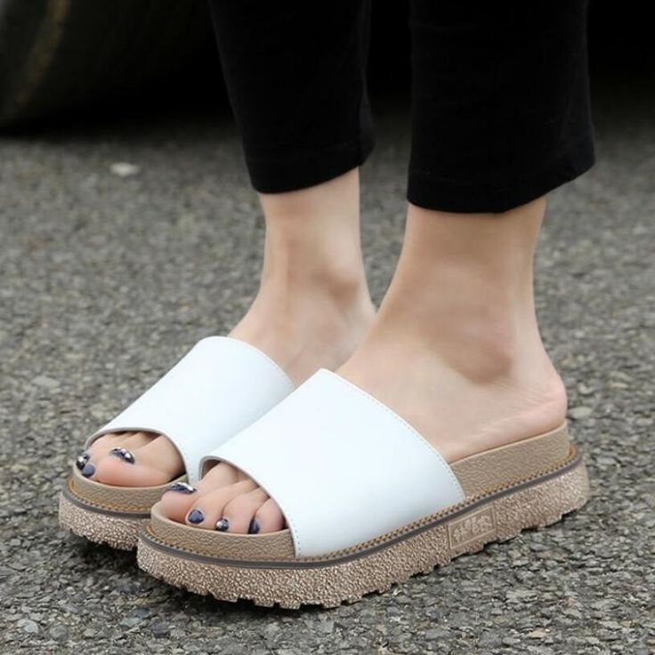 Muffled Soft Bottom Thick SandalsPaymenow Fashion Women Simple Sandals Leather Flat Sandals Ladies Shoes