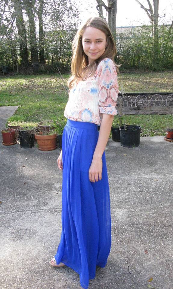 Colorful, floaty maxi skirt