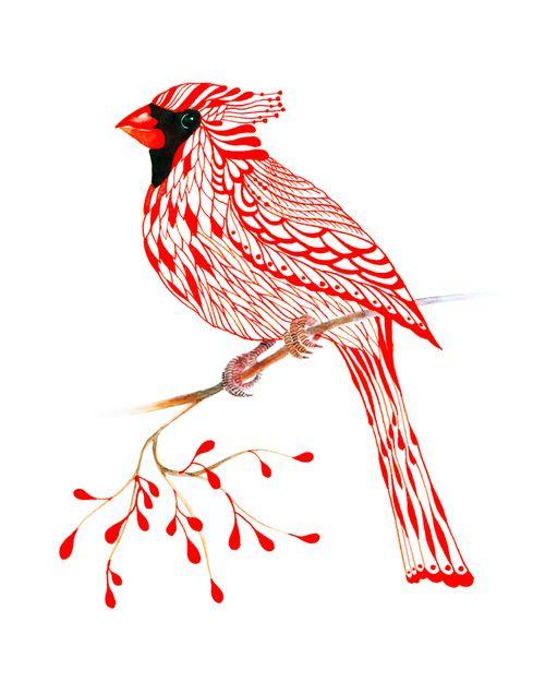 Great shape & details for a winter piece. Cardinal bird -  by Ola Liola