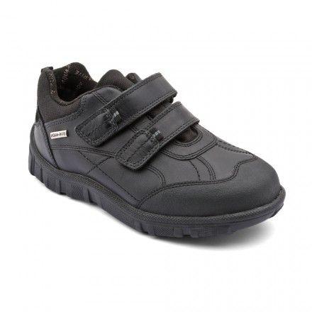 Aqua Rain, Black Leather Riptape Boys School Shoes…