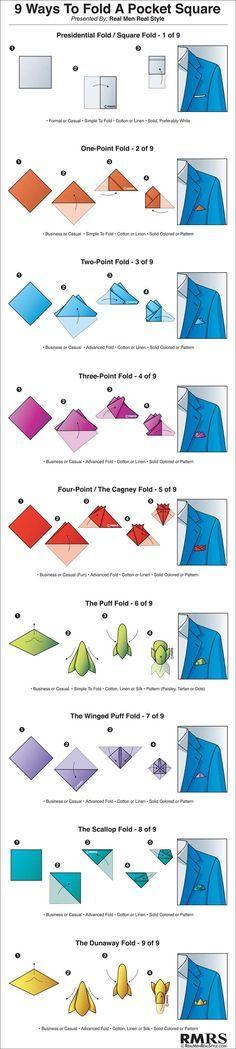 "9 Ways to Fold a Pocket Square Infographic (via <a href=""/antoniocenteno/"" title=""Antonio Centeno"">@Antonio Centeno</a>)"