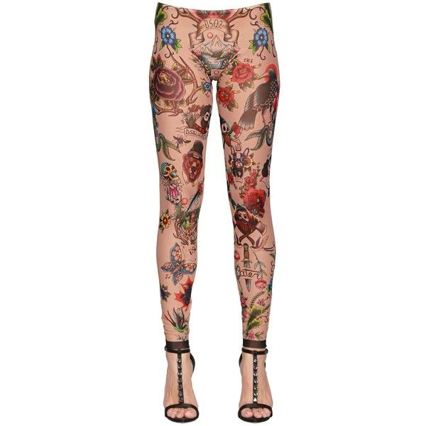 Dsquared2 Women Tattoo Printed Stretch Tulle Leggings ($205) ❤ liked on Polyvore featuring pants, leggings, multicolor, elastic waist pants, see through leggings, sheer pants, stretchy leggings and tattoo leggings