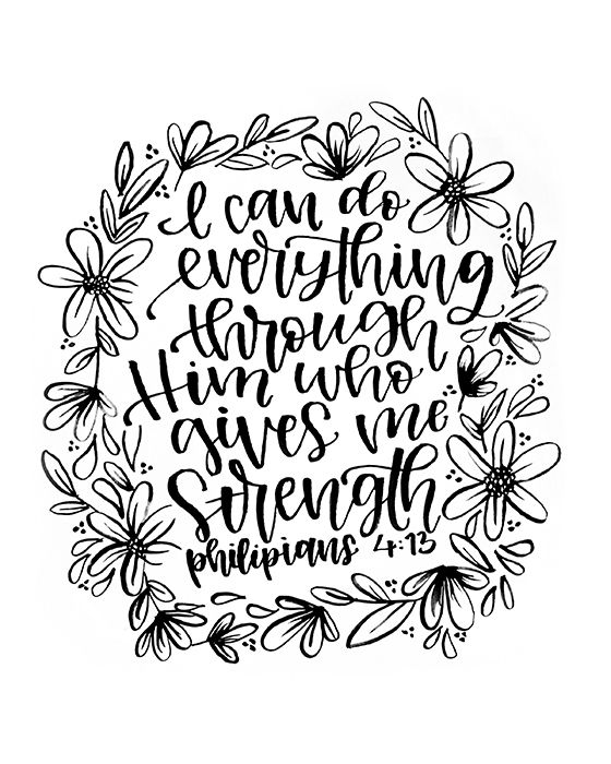 """Philipians 4:13 - """"I can do everything through Him who gives me strength."""" Art Print on Etsy by MiniPress"""