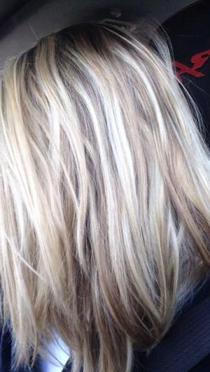 Image result for brown with blonde highlights