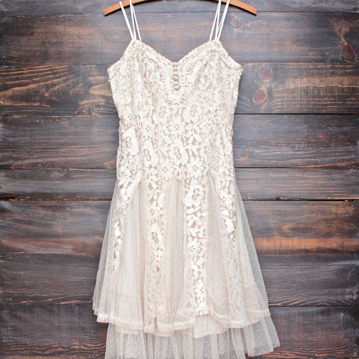 x shophearts - Ryu time will tell lace dress in beige