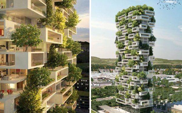 """""""これまでのSFで見る未来都市と言えばこういうビルとビルの間にチューブが張り巡らされた無機物ばかりのものが描かれてきた都市を想像してきたものだけれど、実際には自然との共存を目指す植物に溢れた都市づくりを目指し始めるようになって、なかなか面白いなって。 #プラネットアース"""""""